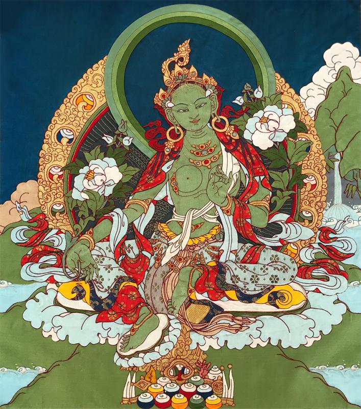 Изображение Зелёной Тары, выполненное ремесленниками Института Норбулинка, Тибет