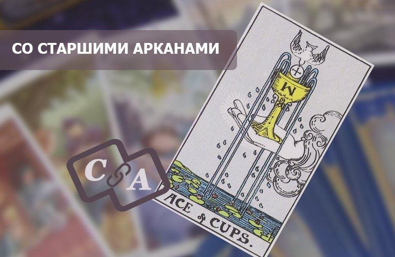 Туз Кубков Таро в сочетании со Старшими Арканами